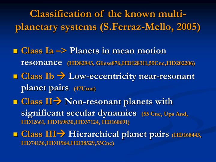 Classification of the known multi-planetary systems (S.Ferraz-Mello, 2005)