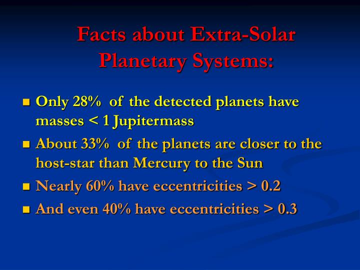 Facts about Extra-Solar