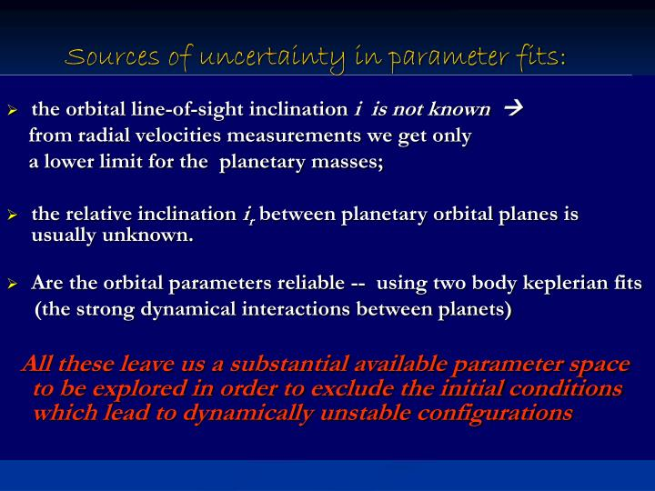Sources of uncertainty in parameter fits: