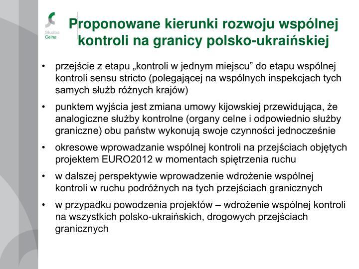 Proponowane kierunki rozwoju wspólnej kontroli na granicy polsko-ukraińskiej