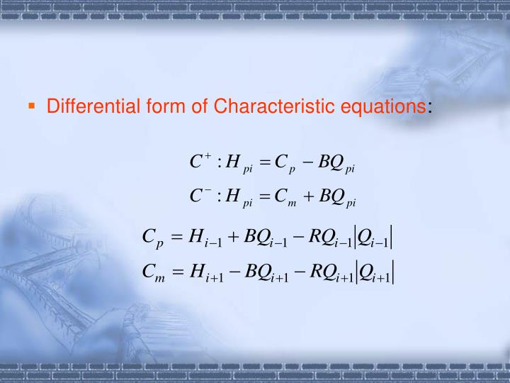 Differential form of Characteristic equations