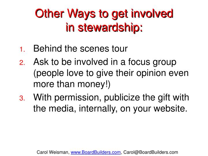 Other Ways to get involved