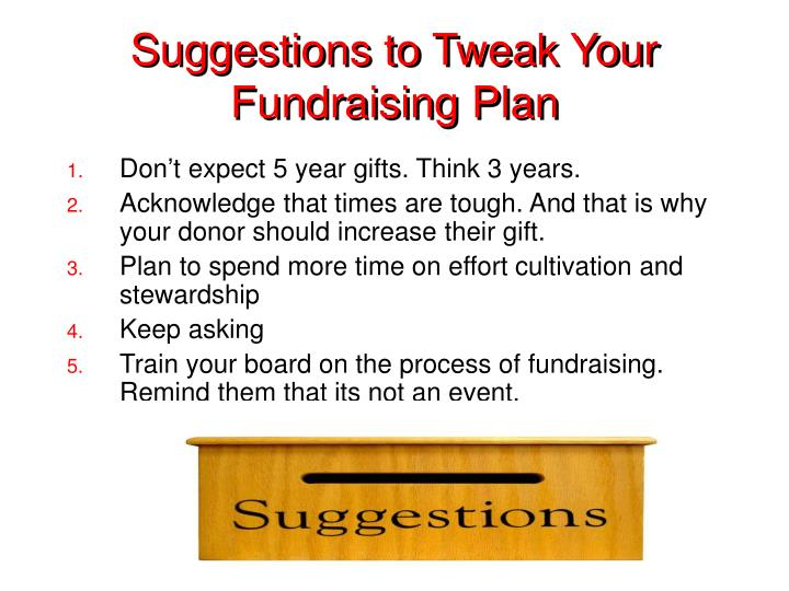 Suggestions to Tweak Your Fundraising Plan