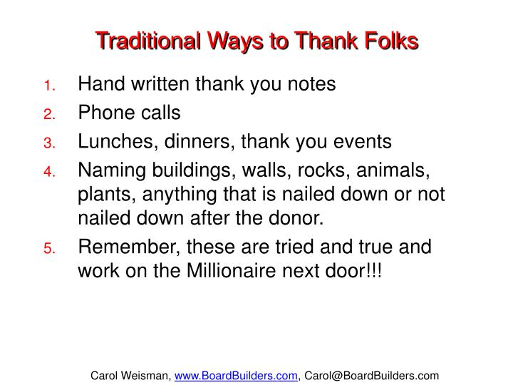 Traditional Ways to Thank Folks