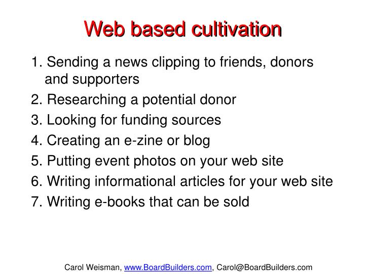 Web based cultivation