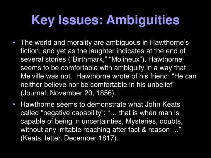 Key Issues: Ambiguities
