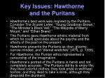 key issues hawthorne and the puritans