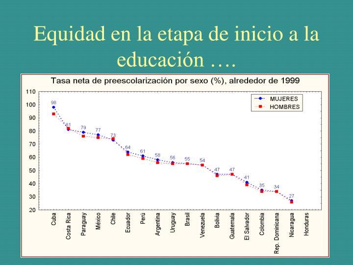 Equidad en la etapa de inicio a la educación ….