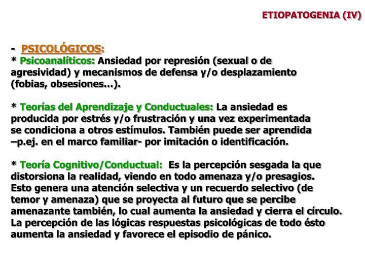 ETIOPATOGENIA (IV)
