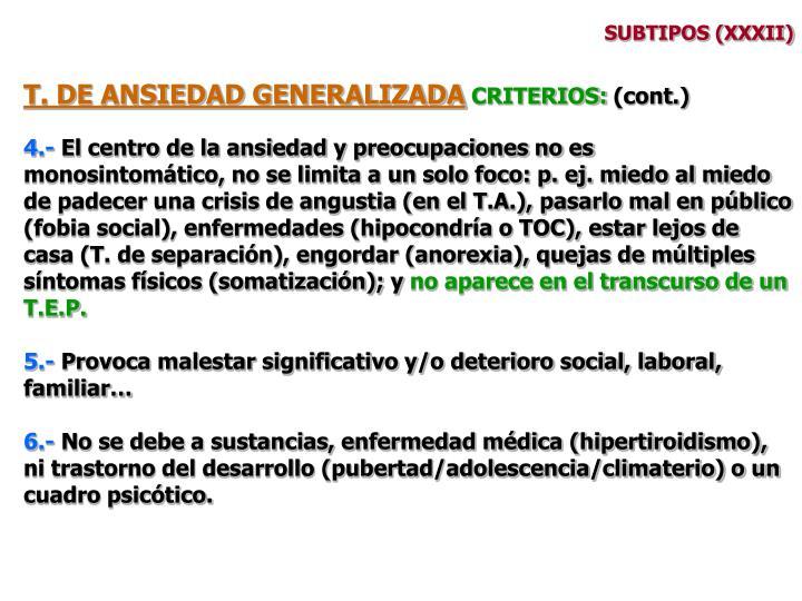SUBTIPOS (XXXII)