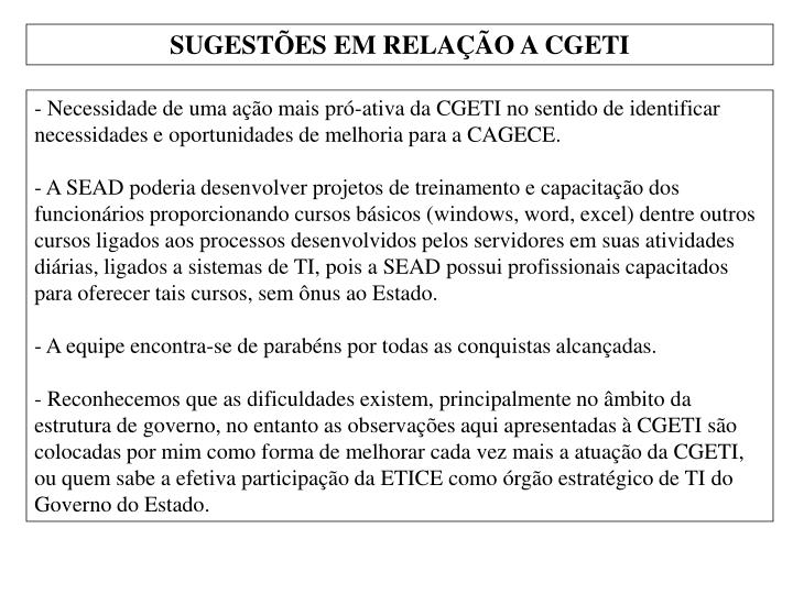 SUGESTÕES EM RELAÇÃO A CGETI