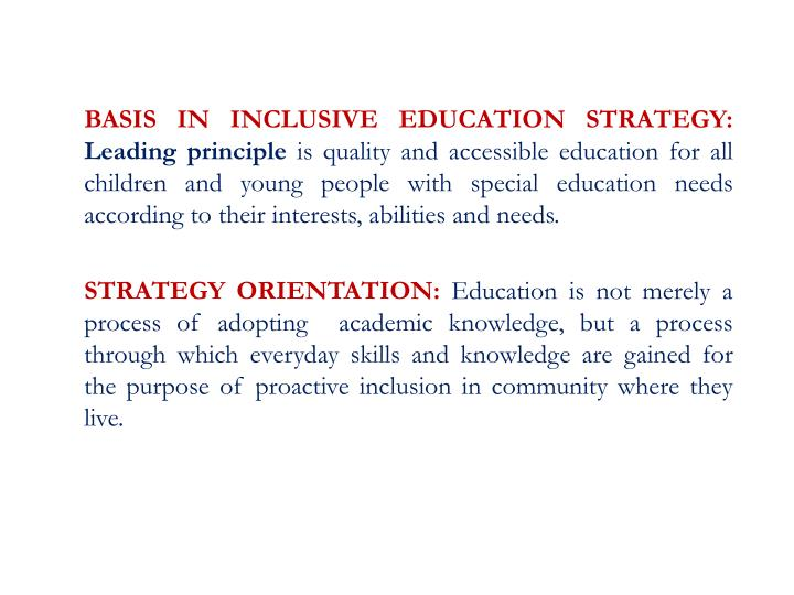 BASIS IN INCLUSIVE EDUCATION STRATEGY: