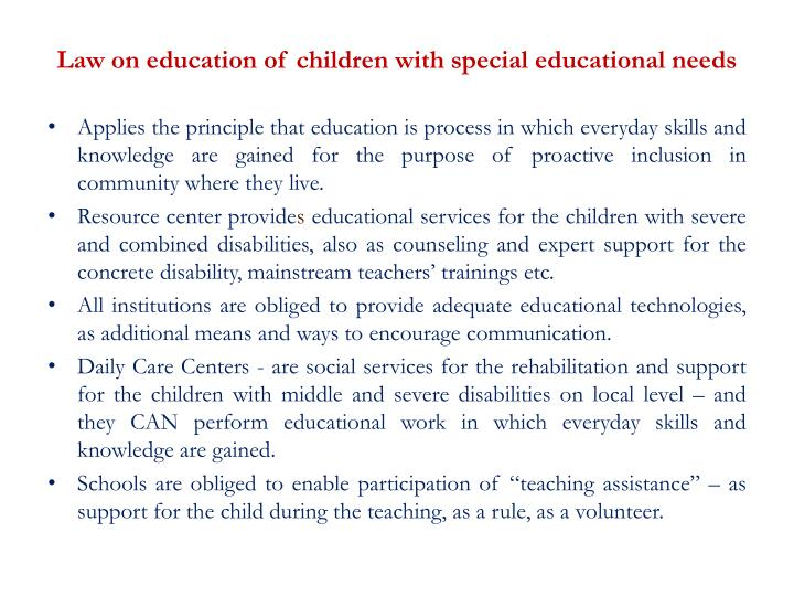 Law on education of children with special educational needs