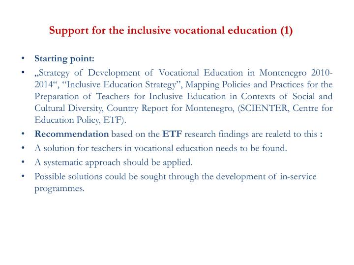 Support for the inclusive vocational education (1)