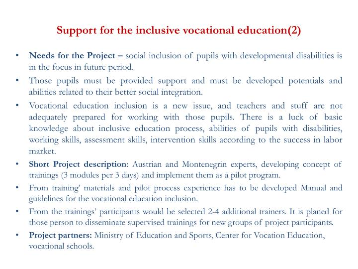 Support for the inclusive vocational education(2)