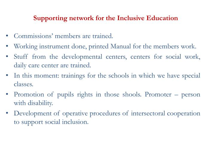 Supporting network for the Inclusive Education