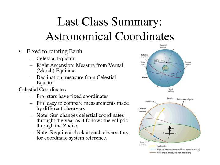 Last Class Summary:
