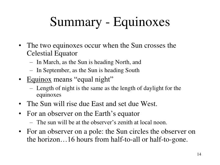 Summary - Equinoxes