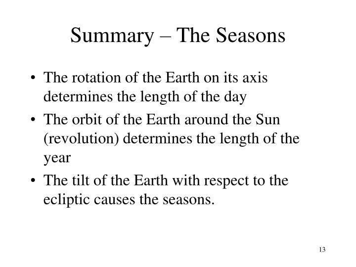 Summary – The Seasons
