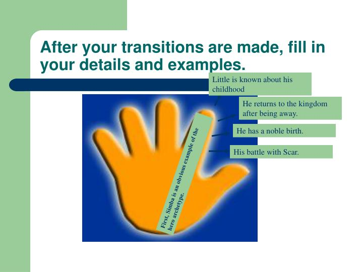 After your transitions are made, fill in your details and examples.