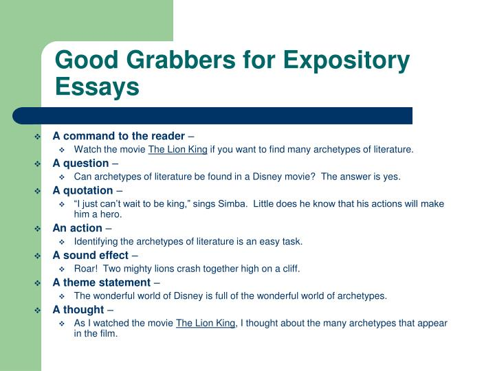 Good Grabbers for Expository Essays