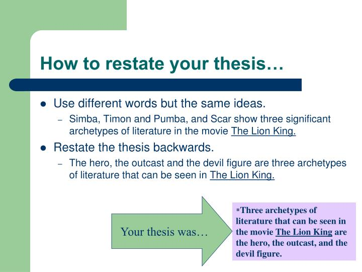 How to restate your thesis…