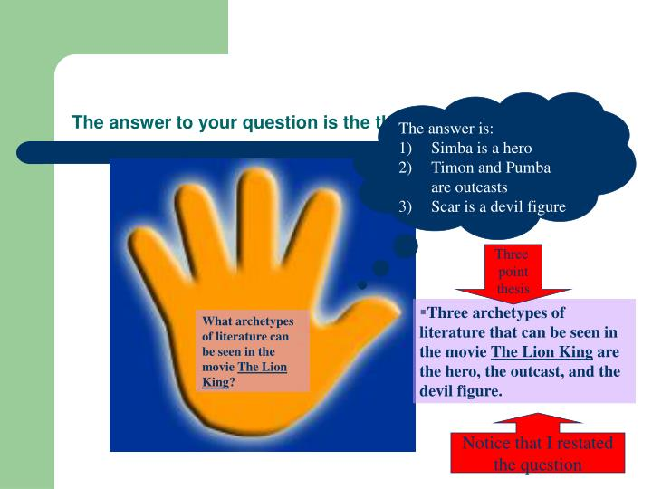 The answer to your question is the three point thesis.