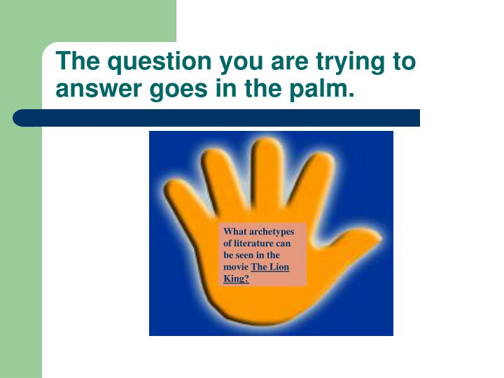The question you are trying to answer goes in the palm.