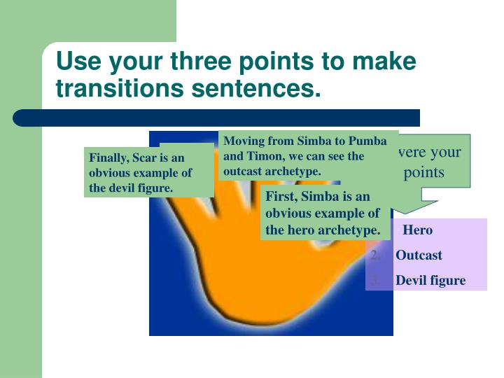 Use your three points to make transitions sentences.