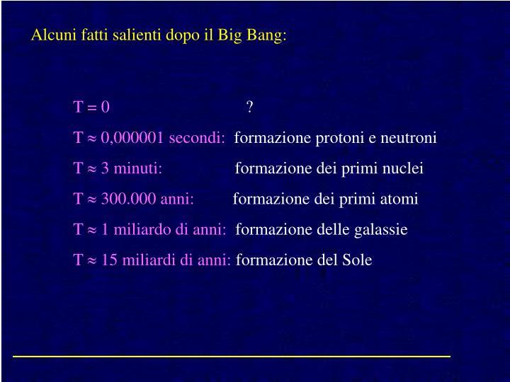Alcuni fatti salienti dopo il Big Bang: