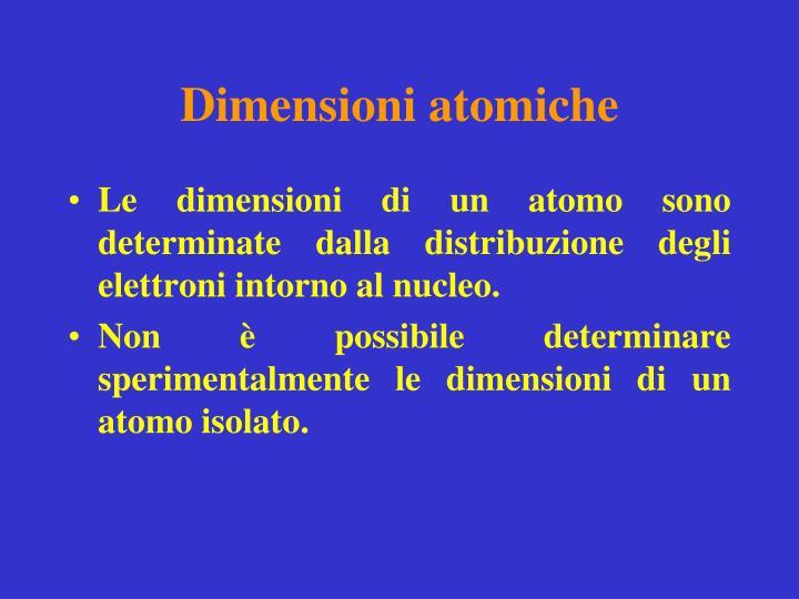Dimensioni atomiche