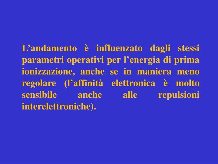 L'andamento è influenzato dagli stessi parametri operativi per l'energia di prima ionizzazione, anche se in maniera meno regolare (l'affinità elettronica è molto sensibile anche alle repulsioni interelettroniche).