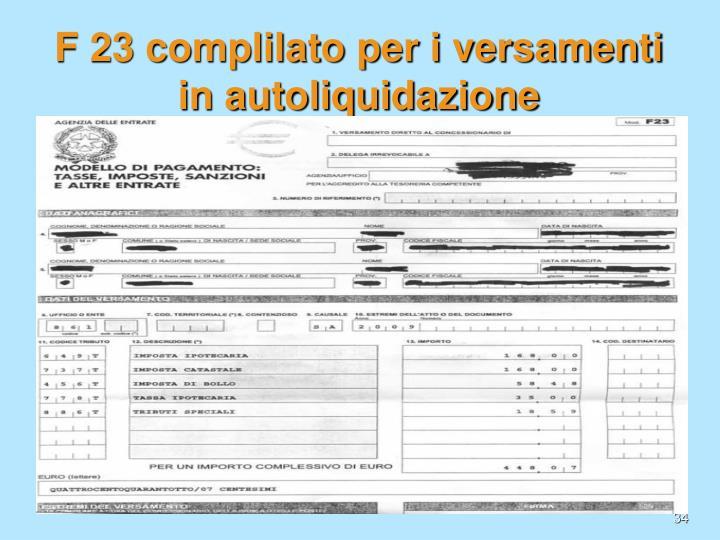 F 23 complilato per i versamenti in autoliquidazione