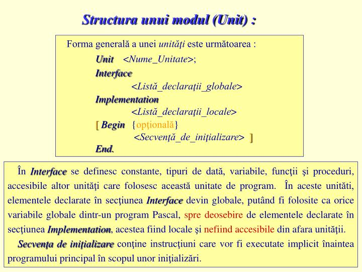 Structura unui modul (Unit) :