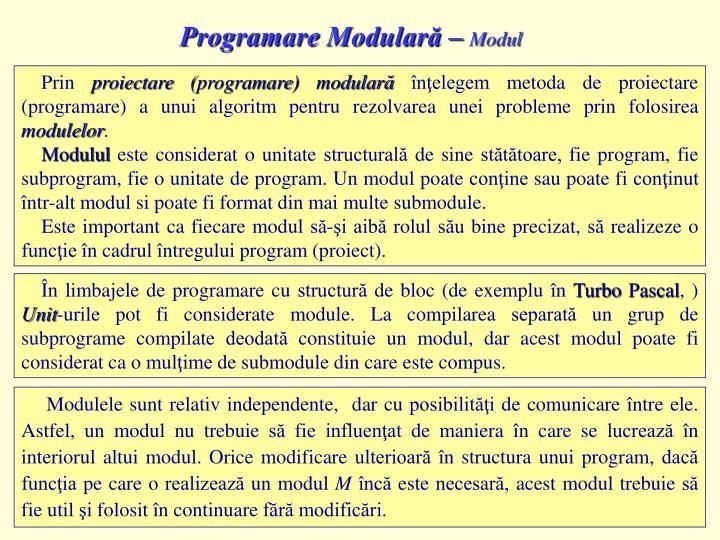 Programare Modulară –