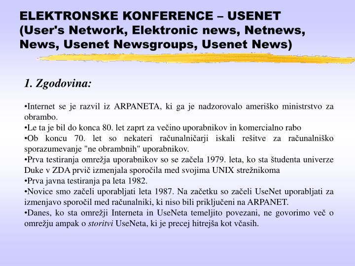 ELEKTRONSKE KONFERENCE – USENET (User's Network, Elektronic news, Netnews, News, Usenet Newsgroups, Usenet News)