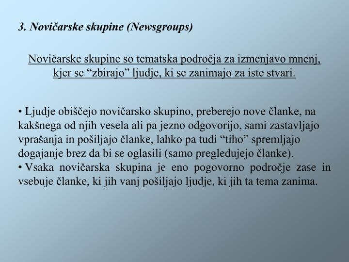 3. Novičarske skupine (Newsgroups)
