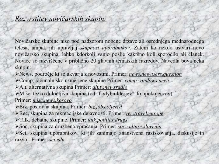 Razvrstitev novičarskih skupin: