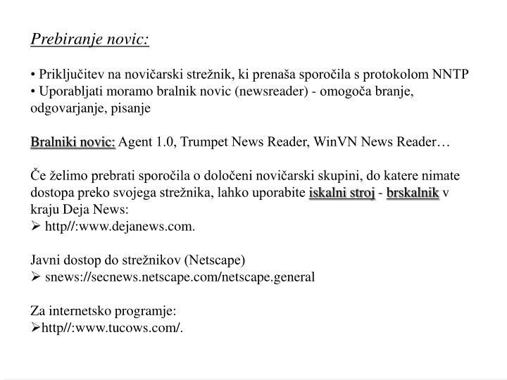 Prebiranje novic: