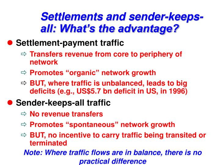 Settlements and sender-keeps-all: What's the advantage?