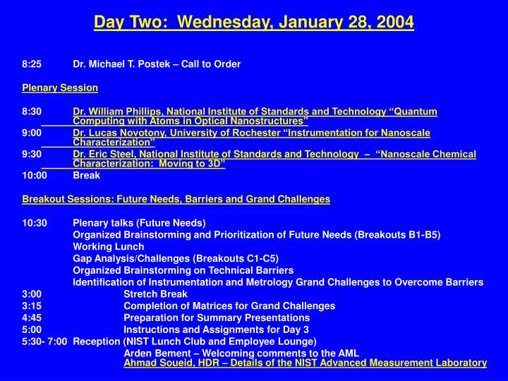 Day Two:  Wednesday, January 28, 2004