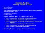 summary day one tuesday january 27 2004