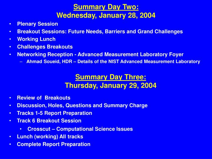 Summary day two wednesday january 28 2004