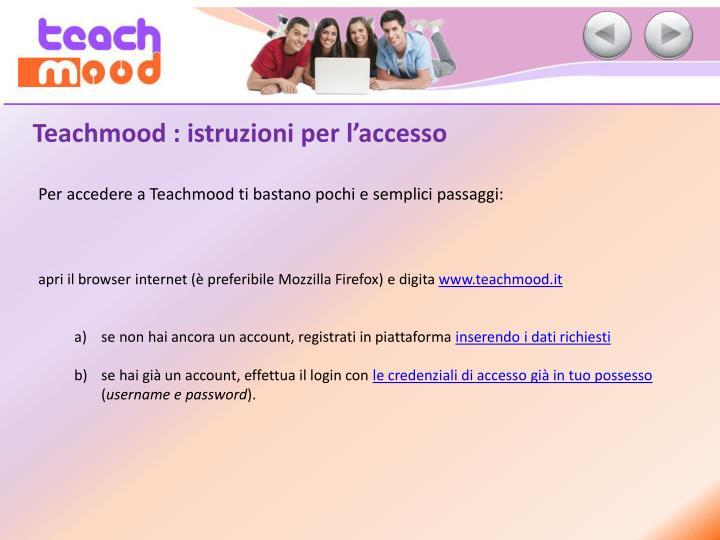 Teachmood : istruzioni per l'accesso