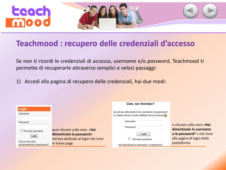Teachmood : recupero delle credenziali d'accesso