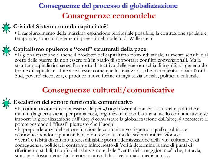 Conseguenze del processo di globalizzazione