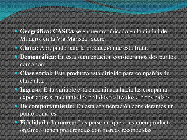 Geográfica: CASCA