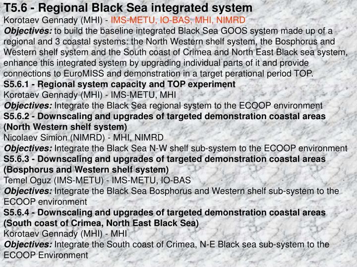 T5.6 - Regional Black Sea integrated system