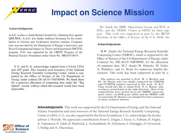 Impact on Science Mission