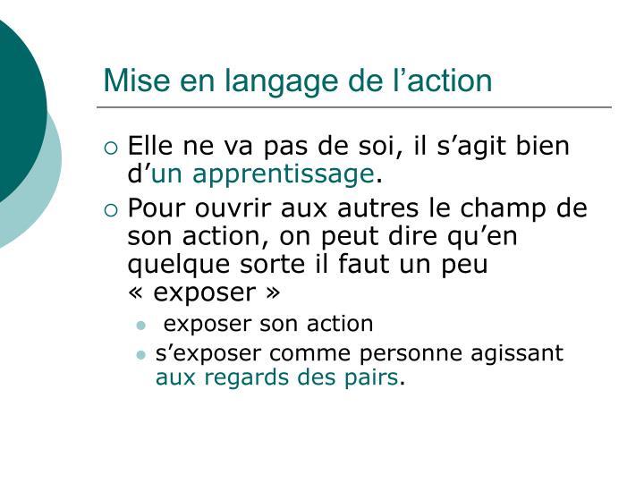 Mise en langage de l'action